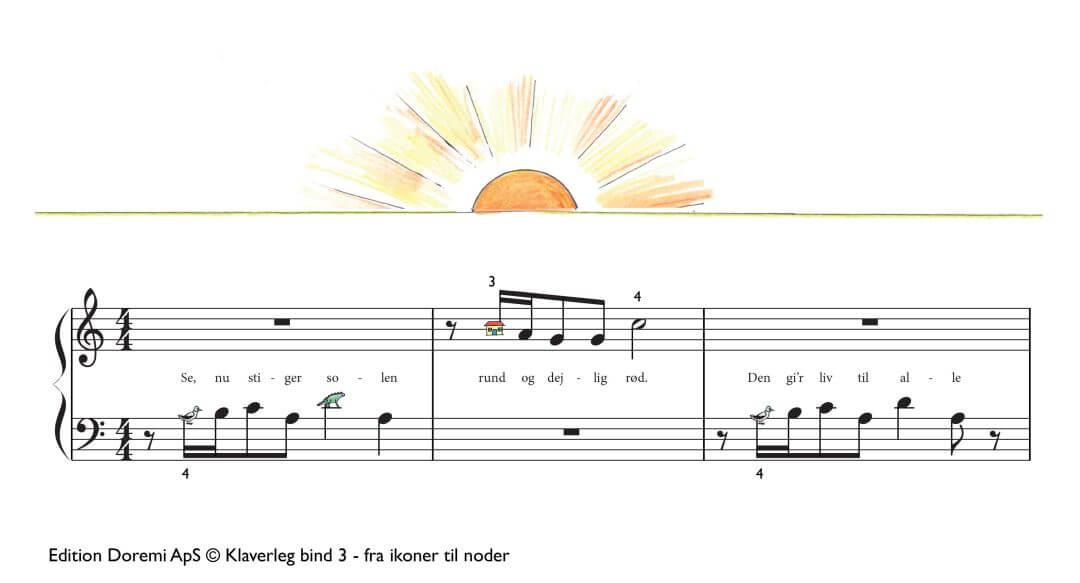 Se, nu stiger solen rund og dejlig rød